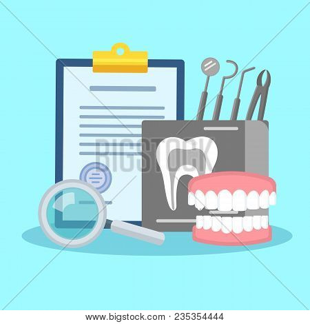 Dental Treatment Poster. Flat Icons Of Dental Prosthesis Instruments Regular Checkup. Colorful Templ