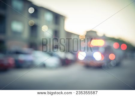 Blurred Fire Trucks At Apartment Incident In Texas, Usa