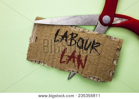 Text sign showing Labour Law. Conceptual photo Employment Rules Worker Rights Obligations Legislation Union written Tear Cardboard the plain background with Scissor. poster