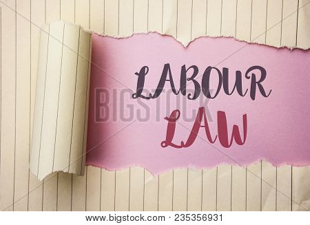 Writing note showing  Labour Law. Business photo showcasing Employment Rules Worker Rights Obligations Legislation Union written the pink background behind Tear Notebook Paper. poster