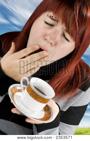 Girl Tired Preparing To Drink Coffee