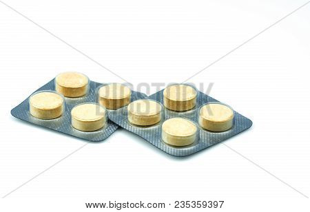 Anthelmintic Tablets Pills In Blister Packs On White Background With Copy Space. Set Of Four Tablets