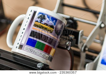 Koblenz, Germany 03.04.18 - Sublimation Mug Designer Production Machine - Print Pictures An Coffee C