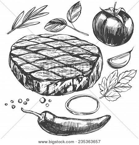 Food Meat Steak, Roast, Vegetable Set, Hand Drawn Vector Illustration Realistic Sketch