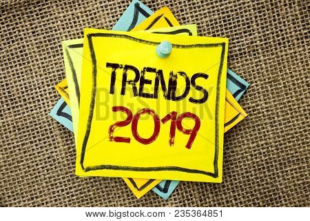 Text Sign Showing Trends 2019. Conceptual Photo Current Movement Latest Branding New Concept Predict