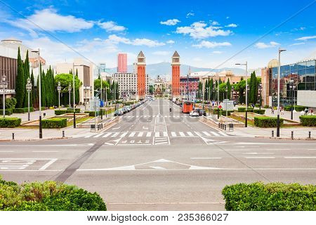 Placa Espanya Or Plaza De Espana Is One Of The Most Important Squares In Barcelona City In Catalonia