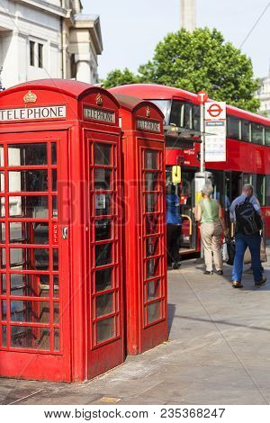 London, United Kingdom - June 21, 2017: Red Telephone Booth On The Street In The City.the Red Teleph