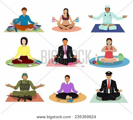 Meditation Vector Meditating People Practice Yoga And Characters Of Pregnant Woman Or Businessman Me