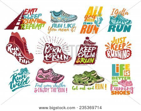 Run Lettering On Running Shoes Vector Sneakers Or Trainers With Text Signs For Typography Illustrati
