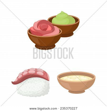 Sushi And Seasoning Cartoon Icons In Set Collection For Design. Seafood Food, Accessory Vector Symbo