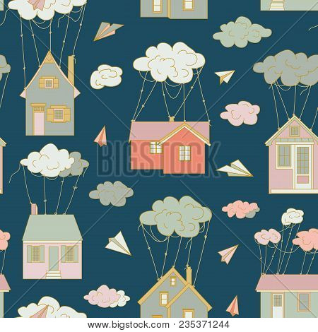 At Home Like Balloons. Houses Fly In The Clouds. The Clouds Are Harnessed. Flying Houses. Children S