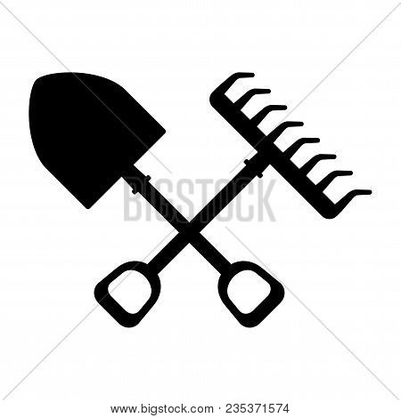 Garden Tools For Working In Garden In Farm. Flat Vector Cartoon Illustration. Objects Isolated On A