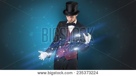 Magician with blue background and geometrical connection between two hands