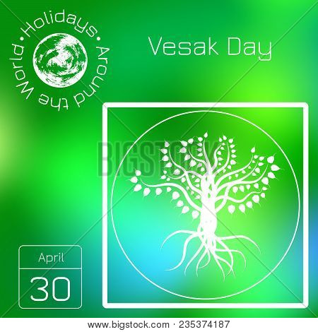 Calendar. Holidays Around The World. Event Of Each Day. Green Blur Background - Name, Date, Illustra
