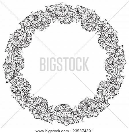 Lotus Flowers Arranged In Intricate Circular Frame. Popular Decorative Motif In South-eastern Asia.