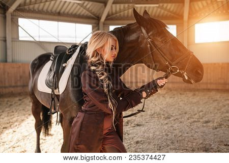 Portrait Of A Girl And Horse Fase To Face