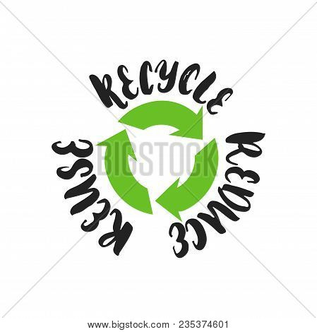 Reduce Reuse Recycle - Hand Drawn Lettering Phrase Isolated On The Black Background. Fun Brush Ink V