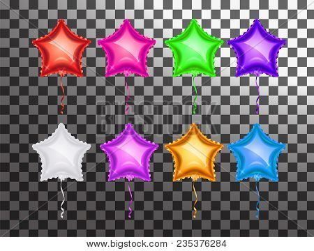 Star Balloon Colorful Set On Transparent Background. Party Balloons Event Design Decoration. Balloon
