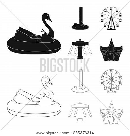 The Device With A Bat For Measuring Strength, A Ferris Wheel, A Carousel, A House With Windows. Amus