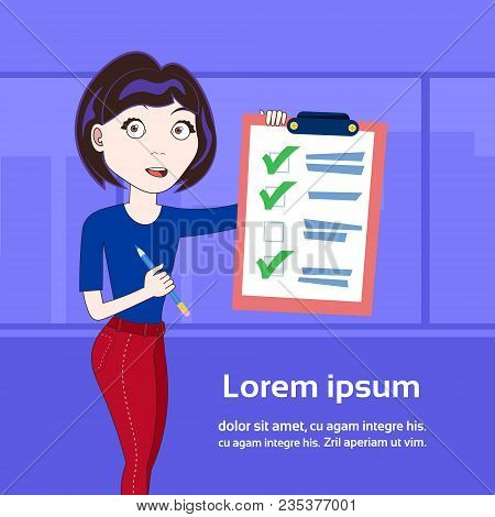Successful Business Woman Holding Done Checklist Over Background With Copy Space Flat Vector Illustr