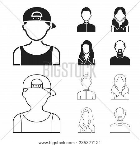 Boy Blond, Bald Man, Girl With Tails, Woman.avatar Set Collection Icons In Black, Outline Style Vect