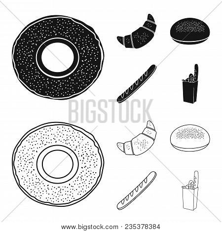 Rye Round Bread, A Croissant, A French Loaf, A Bag Of Bread.bread Set Collection Icons In Black, Out