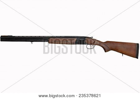 Classical Double-barreled Gun With A Vertical Arrangement Of 12 Gauge Barrels, Used In Hunting And S