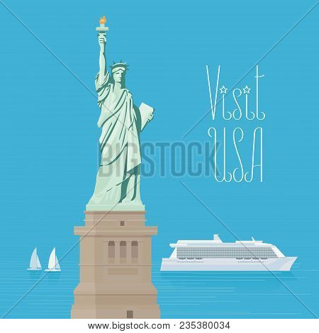 Usa New York Statue Of Liberty Vector Illustration, Poster. Design Element For Travel To America Wit