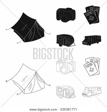 Vacation, Photo, Camera, Passport .family Holiday Set Collection Icons In Black, Outline Style Vecto