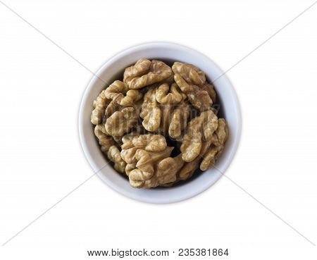 Kernels Walnuts Isolated On White. Walnuts In A Bowl Isolated On White Background. Top View. Walnuts