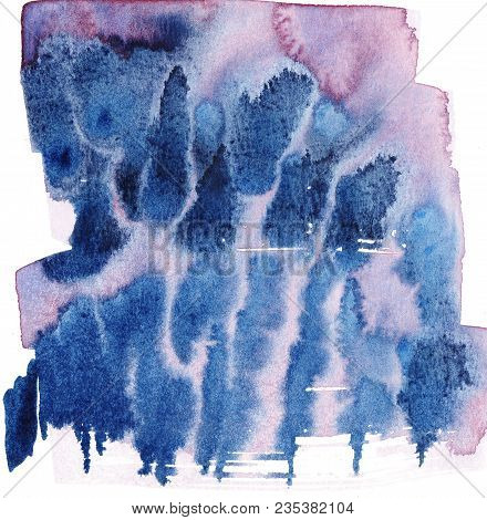 Red And Blue Wet Into Wet Watercolor Abstract Illustration