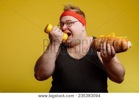 Diet Failure Of Fat Man Eating Fast Food Hamberger
