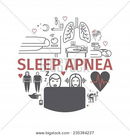 Sleep Apnea. Symptoms, Treatment. Line Icons Set. Vector Signs For Web Graphics