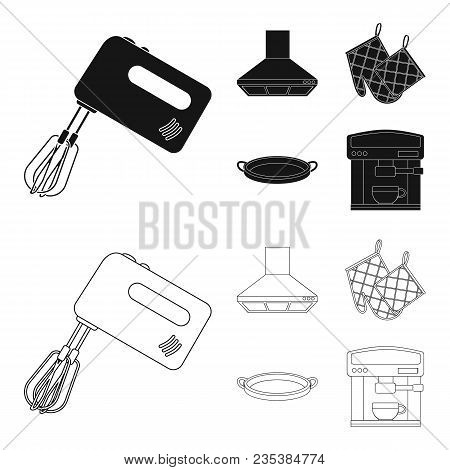 Kitchen Equipment Black, Outline Icons In Set Collection For Design. Kitchen And Accessories Vector