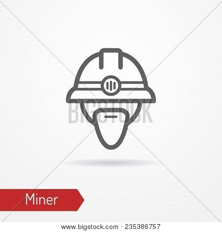 Typical Simplistic Miner Face In Professional Helmet With Headlight. Miner Or Digger Head Isolated I