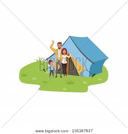 Family Camping, Traveling And Relaxing Concept, Summer Vacations Vector Illustration Isolated On A W