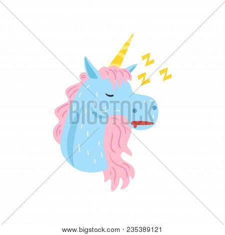 Cute Funny Unicorn Character Sleeping And Snoring Cartoon Vector Illustration Isolated On A White Ba