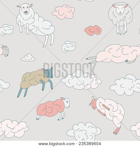 Sheep-clouds In The Sky .sheep On Clouds - Cute Cartoon Childish Seamless Pattern In Vector.