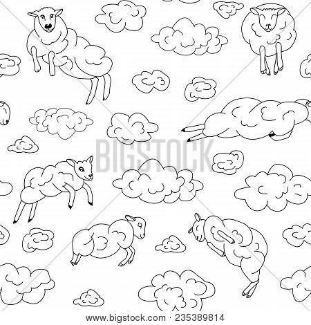 Sheep-clouds In The Sky .sheep On Clouds - Cute Cartoon Childish Seamless Pattern In Vector. Black A
