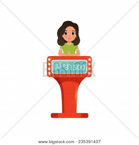 Cute Girl Taking Part At Quiz Show, Young Player Answering Questions Standing At Stand With Button V
