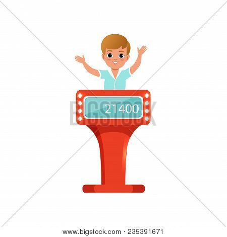 Cute Little Boy Taking Part At Quiz Show, Young Player Answering Questions Standing At Stand Vector