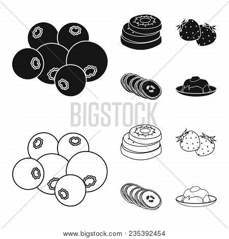 Fruits And Other Food. Food Set Collection Icons In Black, Outline Style Vector Symbol Stock Illustr