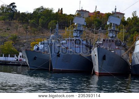 Military Navy Ships In Sea Bay. Sea Convoy Marine Desroyer Boat With Radar. Grey Modern Military War