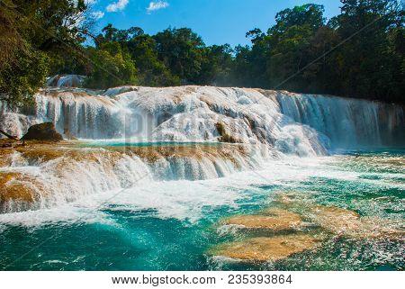 Fabulous Agua Azul. Yucatan. Mexico. Huge Cascades On A Waterfall Near Palenque.