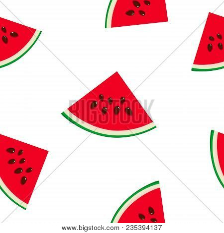 Seamless Pattern With Slice Of Watermelon, Juicy Fresh Slice Of Watermelon With Seeds, Summer Time,