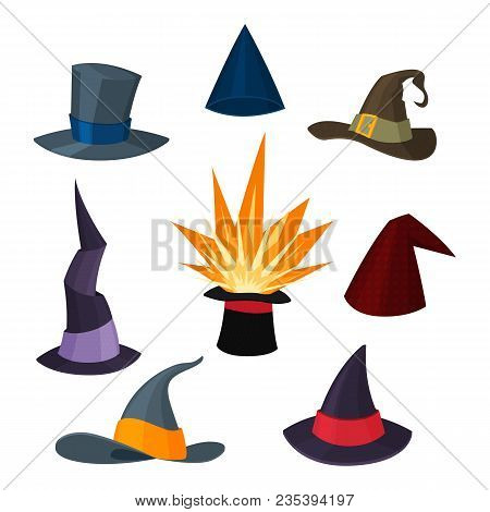 A Set Of Magical Hats. Hats Wizards, Witches, Magicians, Illusionists. Vector Illustration In Cartoo