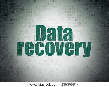 Data Concept: Painted Green Word Data Recovery On Digital Data Paper Background