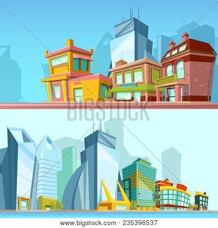 Horizontal Banners With Urban Streets And Modern Buildings. Illustrations In Cartoon Style. Town Wit
