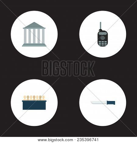 Set Of Criminal Icons Flat Style Symbols With Jurors, Knife, Court And Other Icons For Your Web Mobi