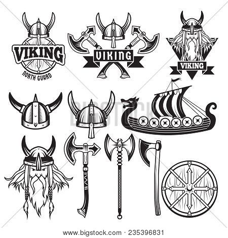 Medieval Warriors And His Weapons. Labels With Vikings. Set Isolate On White. Vector Warrior Weapon,